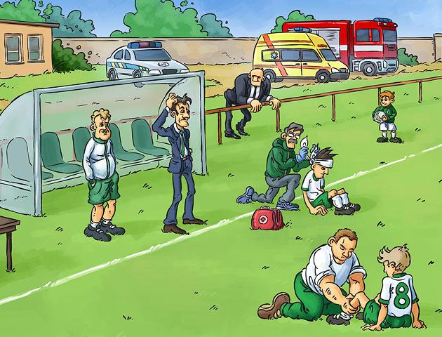 Ukázka kresby pro fotbalovou učebnici