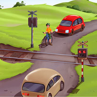 Železniční přejezd - ilustrace pro dětskou aplikaci