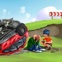Nehoda - ilustrace pro dětskou aplikaci