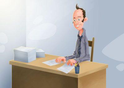 Ilustrace manažera pro interní komunikaci firmy Damedis