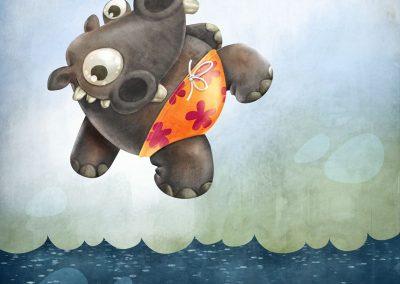 Hroch na plovárně - ilustrace pro děti