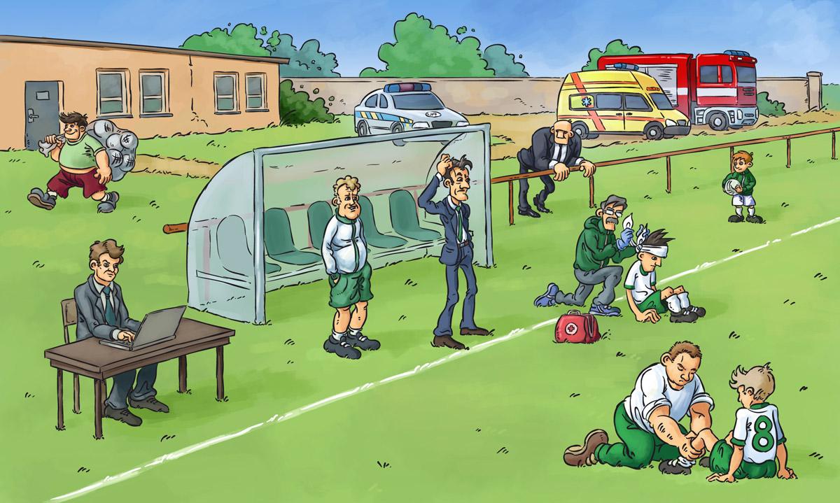 Ukázka z knihy Fotbalová angličtina a němčina - činivníci zápasu