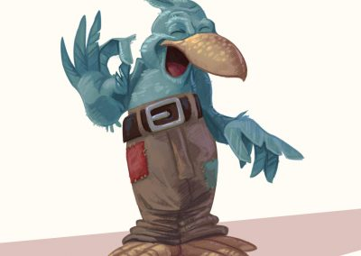 Ilustrace - postavička ptáka chytráka