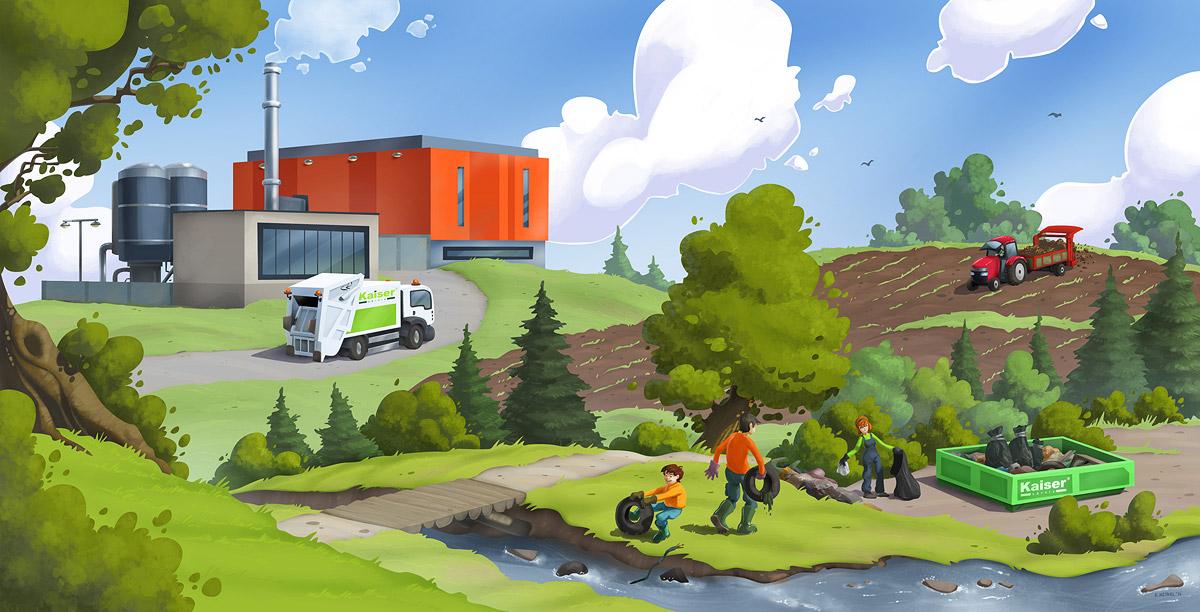 Ilustrace úklidu odpadů v přírodě
