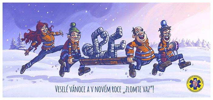 Ukázka novoročenky pro Záchrannou službu Stř. kraje