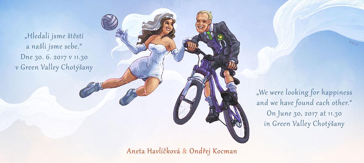 Svatební oznámení se sportovním motivem