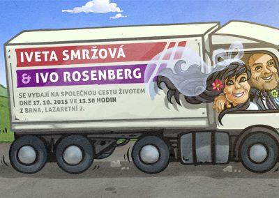 Svatební oznámení - kamion
