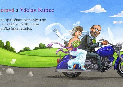 Originální svatební oznámení s motorkou