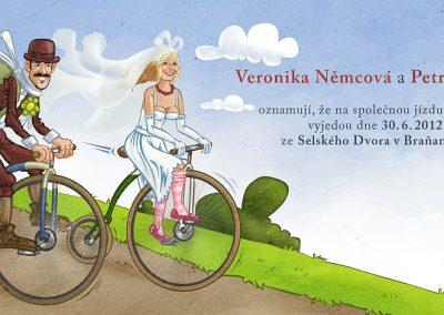 Svatební oznámení - cyklisté