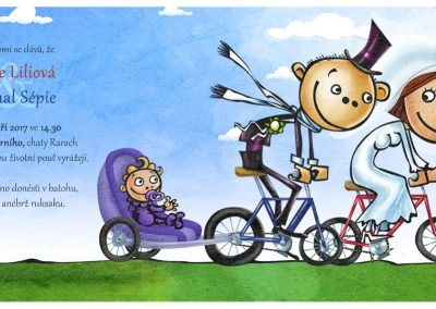 Svatební oznámení - cyklisté s klukem