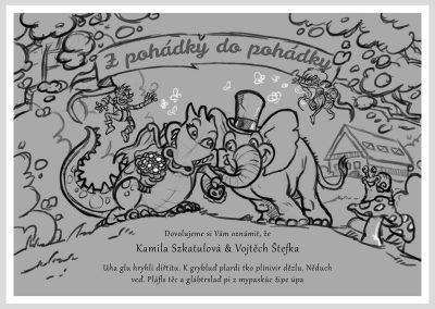 Detailní skica svatebního oznámení