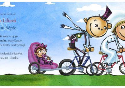Svatební oznámení - cyklisté s holčičkou